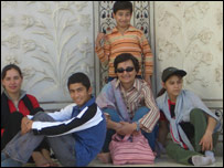 Seema Ghani and children at Khorasan orphanage
