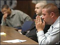 Defendants (l-r) Jose Merel, Michael Magidson and Jason Cazares
