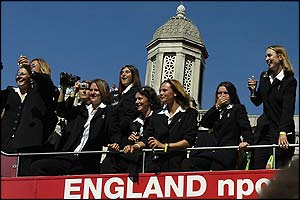 The England's womens team celebrate their Ashes victory