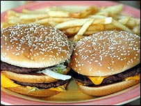 File photograph of two hamburgers and fries