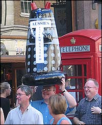 An inflatable Dalek bearing the inscription 'Aussies exterminated'