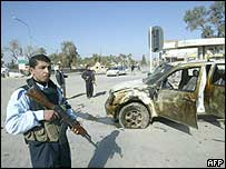 Iraqi police in the north-eastern city of Baquba
