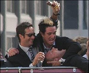 Vaughan and Pietersen restrain Freddie Flintoff