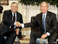 Jalal Talabani and George W Bush