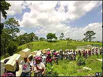 The remains of victims of Guatemala's 1960-1996 civil war are buried in Zacualpa. Archive picture
