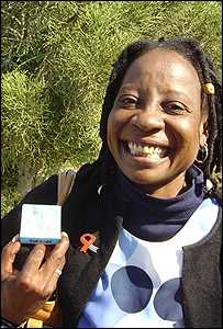 Botswana woman with HIV medication