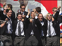 England players celebrate in Trafalgar Square