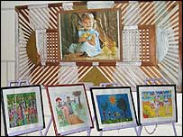 Children's paintings on display in Tripoli's high commission for children.