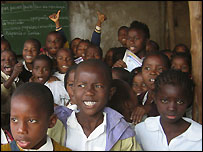 Children at a school in Mozambique