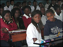 Schoolgirls in a classroom in Mozambique