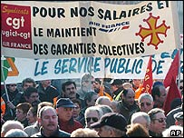 Civil servants demonstrate in Toulouse, southern France