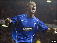 Peter Lovenkrands was on target at Ibrox