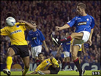 Peter Lovenkrands scores at Ibrox