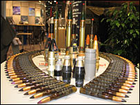 Ammunition at an arms fair stand