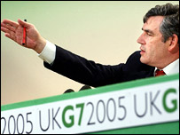 Gordon Brown arriving for a second morning of G7 talks