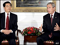 Chinese President Hu Jintao and US President George W Bush in New York