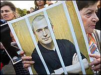 Protesters at a rally demanding Mr Khodorkovsky's release