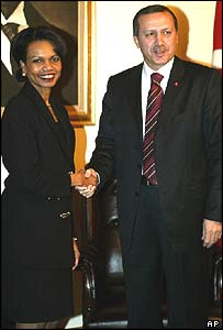 US Secretary of State Condoleezza Rice shakes hands with Turkish Prime Minister Recep Tayyip Erdogan before their meeting