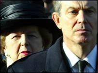 Margaret Thatcher and Tony Blair on Remembrance Sunday, November 2004