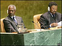 UN Secretary General Kofi Annan and UN General Assembly President Jean Ping