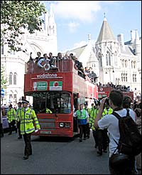 Thanks to Claire Fisher for capturing this picture of the bus passing the Royal Courts of Justice