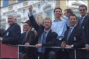 Duncan Fletcher smiles as Paul Collingwood salutes the crowd in a picture taken by James Allison