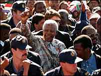 Nelson Mandela with crowd in South Africa