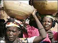 Women lining up for food in Niger this year