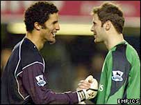 Man City keeper David James (left) is congratulated by Chelsea's Petr Cech