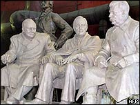 A statue of Sir Winston Churchill, Franklin D Roosevelt and Joseph Stalin  in Yalta