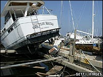 Damaged boats in a harbour in Louisiana