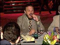 Fidel Castro's eldest son, Fidelito, puffs away on a cigar (Archive picture)