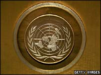 The crest of the United Nations in the General Assembly chamber