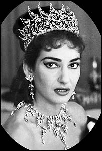 Maria Callas wearing bridal jewellery from Tosca in 1956