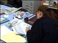 teacher doing paperwork