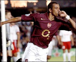 Brazilian midfielder Gilberto Silva gives Arsenal a vital lead at Highbury