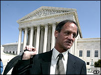Californian atheist Michael Newdow outside the US Supreme Court last year