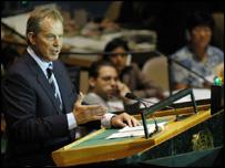 Tony Blair makes his speech to the UN