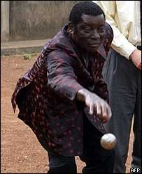 Gnassingbe Eyadema playing petanque