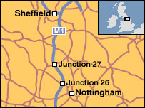 Map showing route of M1 police pursuit