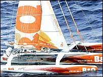 Ellen MacArthur on board the B & Q, just west of the Bay of Biscay