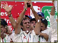 England's victorious cricket team celebrate their Ashes win