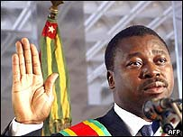 Faure Gnassingbe at his inauguration