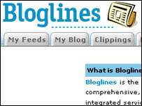 Screengrab of Bloglines page, Bloglines
