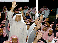 Saudi men at an election campaign meeting in Riyadh