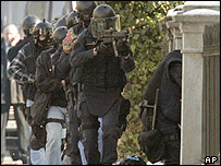 Elite Swiss police storming Spanish consulate, Bern