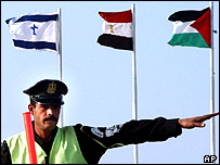 Israeli, Egyptian and Palestinian flags at summit venue, Sharm al-Sheikh