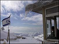 An Israeli army post at Mount Hermon in the Golan Heights