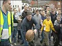 People taking part in the Atherstone Ball Game