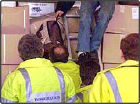 Custom officials find a stowaway in a lorry at Dover Docks
